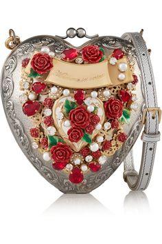 Dolce & Gabbana | Heart embellished silver-plated shoulder bag
