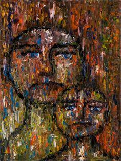 "Behind Blue Eyes Collection. ""US"", 24x18, Oil on Canvas. Artist: Rene Romero Schuler www.reneschuler.com"