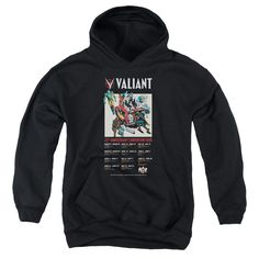 VALIANT/25 YEARS (FRONT/BACK PRINT)-YOUTH PULL-OVER HOODIE-BLACK