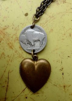Locket vintage jewelry Heart pendant Buffalo nickel Brass found object Necklace gift  Lux Revival reclaimed materials wedding Bride