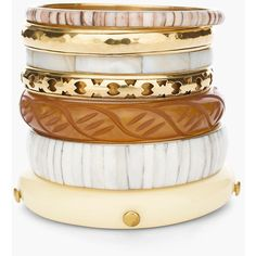 Chico's Nala Bangles (£34) ❤ liked on Polyvore featuring jewelry, bracelets, bangles, accessories, neutral, hinged bangle, bracelets bangle, bangle jewelry, shell bangles and chicos jewelry
