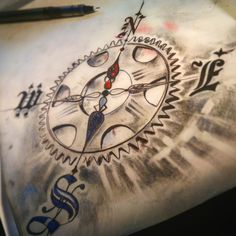Compass tattoo design for bike lovers
