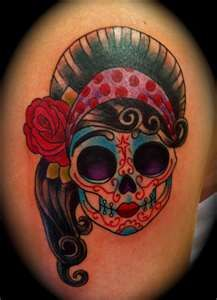 kinda love the idea of a girly sugar skull and using the curly hair for filler!