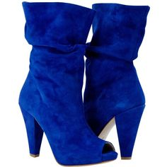 PAOLO IANTORNO Sandy Cobalt Blue Suede Mid-Calf Crinkled Effect Bootie ($279) ❤ liked on Polyvore featuring shoes, boots, blue, heels, sapatos, high heel bootie, short heel boots, bootie boots, suede high heel boots and open toe ankle boots