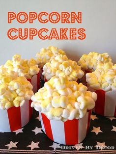 We had a movie themed birthday party for my oldest daughter last weekend {see this post for the party details!} and in keeping with the theme, I made these fun popcorn cupcakes. Usually when I make something cutsie like this it doesn't turn out as well as I'd hoped but these cupcakes ended up being … Movie Night Party, Movie Theater Party, Outdoor Movie Party, Movie Cupcakes, Movie Theme Cake, Party Cupcakes, Themed Cupcakes, Cupcake Cakes, Birthday Cupcakes
