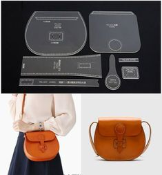 Details about Leather Craft Clear Acrylic shoulder bag handbag Pattern Stencil Template DIY Application: Leather Handcraft. Acrylic Stencil Set( the shoulder bag is not included ). Design in international standard, suitable for any personal DIY or profe Leather Diy Crafts, Leather Craft Tools, Leather Bags Handmade, Leather Shoulder Bag, Leather Wallet, Leather Bag Pattern, Handbag Patterns, Wallet Pattern, Leather Handbags