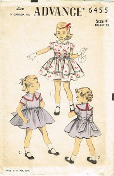 Advance Pattern 6455  Toddler Girls Party Dress Pattern Cute Front Bodice Design  Dated 1953  Complete Nice Condition 9 of 9 Pieces Unprinted Pattern