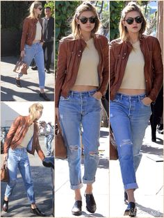 with low-rise boyfriend jeans that were baggy and ripped. The model also wore smart black and burgundy brogues and kept warm on the windy LA day with a tan leather jacket, while carrying a matching bag. Gigi – who appeared to be wearing just a little make-up – sported large tortoiseshell sunglasses and half-pinned up her long blonde locks.