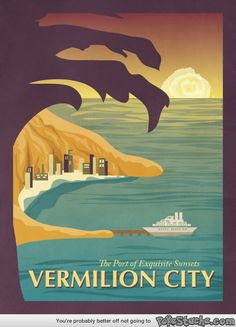 """""""A southern city that is bathed in orange by the setting sun."""" Vintage Pokemon posters"""