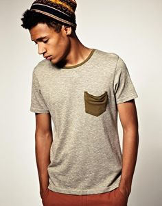 Crew Neck T-Shirt With Contrast Trim slouch pocket