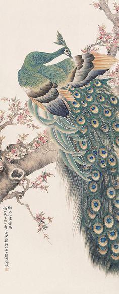 Lu Yifei(陆抑非) , 仿元人笔意 孔雀