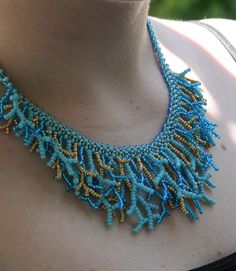 Blue Coral by MagicBeads on DeviantArt Bold Necklace, Seed Bead Necklace, Seed Bead Jewelry, Bead Jewellery, Jewelry Making Beads, Diy Necklace, Beaded Jewelry, Beaded Bracelets, Necklaces