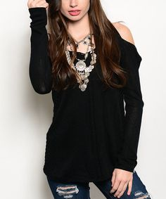 Look at this Black Cold Shoulder Sweater Tunic on #zulily today!