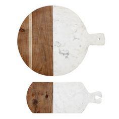 Planche à découper rectangulaire ou ronde bois et marbre Hübsch
