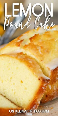 Lemon Pound Cake topped with a sweet lemon glaze is the perfect treat to serve at a beautiful summer brunch or for holidays like Easter or Mothers Day. Cheesecake Desserts, Lemon Desserts, Homemade Desserts, Lemon Recipes, Best Dessert Recipes, Easy Desserts, Baking Recipes, Delicious Desserts, Desserts Keto