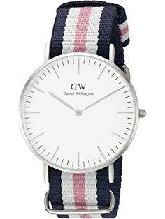 Daniel Wellington Women's 0605DW Southampton Stainless Steel Watch With Striped Nylon Band ❤ Daniel Wellington