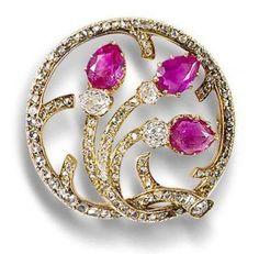 Ruby and Diamond Brooch by Faberge