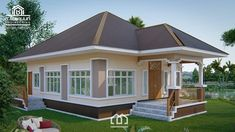 10 Contemporary House Designs With Floor Plan Perfect for Modern Family Flat House Design, Single Floor House Design, House Front Design, Modern House Design, Modern Bungalow House, Bungalow House Plans, Small House Plans, Beautiful Small Homes, Two Storey House