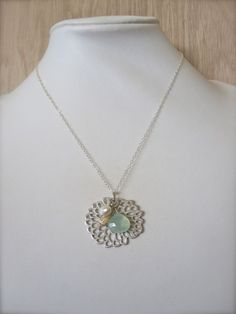 Seafoam chalcedony Hawaiian shell fan coral necklace by Tidepools, $47.00