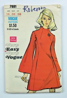 60s Dress Pattern Vintage VOGUE Pattern MOD by ScarlettsVault