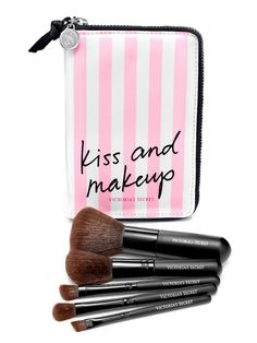 Kiss & makeup...in pink & white, of course. // Victoria's Secret Travel Brush Set