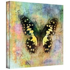 Brushstone 'Butterfly' by Elena Ray, Removable Wall Art Mural, is a high-quality canvas print example of mixed media photography depicting a yellow butterfly. A natural and serene addition to your home or office.