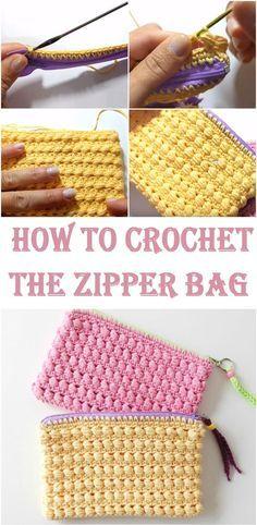 Crochet The Zipper Bag - Crafting Time Crochet Wallet, Crochet Coin Purse, Crochet Purses, Crochet Bags, Crochet Bag Tutorials, Crochet Diy, Crochet Patterns, Crochet Ideas, Pouch Pattern