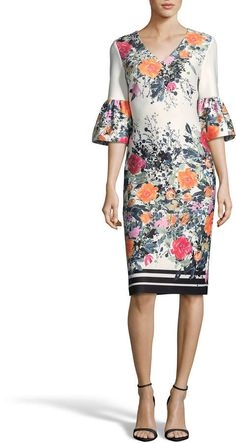 Label by Bell-Sleeve Floral-Print Sheath Dress Summer Fashion Outfits, Summer Outfits Women, Casual Summer Dresses, Modest Dresses, Curvy Girl Fashion, Modest Fashion, Link Web, Paris Dresses, Business Dresses