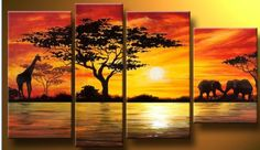 Beauty of Africa Landscape Canvas Wall Art Oil Painting Afrique Art, African Paintings, Art Deco Home, Great Paintings, Canvas Paintings, Painting Frames, Oil Painting Abstract, Art Oil, Canvas Wall Art