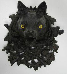 Antique Victorian 19th C German Cast Iron Figural Fox Head Inkwell