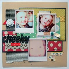 Layer up your fabrics and papers on your layout. Fabrics, Paper Crafts, Layout, Scrapbook, Kit, Spring, Blog, Inspiration, Tejidos