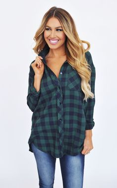 Navy/Green Plaid Tunic - Dottie Couture Boutique