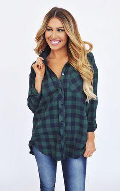Navy/green plaid tunic - dottie couture boutique