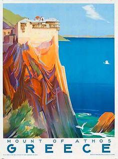 Mount of Athos | Greece | Vintage travel poster | European travel