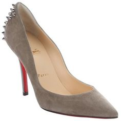Christian Louboutin grigio suede 'Zappa' studded pointed toe pumps