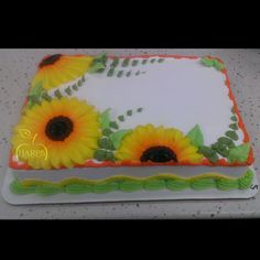 Enjoy your shopping experience when you visit our supermarket. Buttercream Cake, Frosting, Icing, Summer Cakes, Fall Cakes, Sunflower Cupcakes, Cake Design Inspiration, Birthday Sheet Cakes, Decorating Ideas