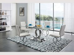 Elegant Rectangular Clear Glass Top Leather Dining Table and Chair Sets Daining Table, Glass Dining Room Table, White Dining Table, Table And Chair Sets, Dining Table Chairs, Dining Room Furniture, Furniture Design, Dining Rooms, Dining Set