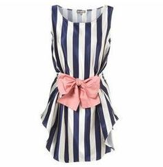 Nautical style navy and white stripes with pink bow