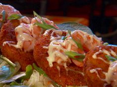 Fried Green Tomatoes with Shrimp and Remoulade Sauce from FoodNetwork.com