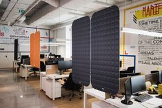 VicOffice Suspended Dividers help divide your workstations with an extra acoustic treatment. Productivity In The Workplace, Workspaces, Dividers, Acoustic, Modern, Table, Furniture, Home Decor, Trendy Tree