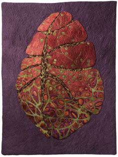 """Seed Dreaming VI: Karen Kamenetzky Art Quilt 28.5""""w x 38""""h  Artist dyed silk and mulberry bark, rug padding  Machine and hand stitched"""