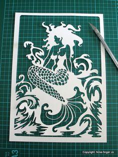 Papercutting Template A4  Fantasy Mermaid  DIY by NineFingerJo