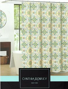 Cynthia Rowley Floral Medallion Elephant Fabric Shower Curtain 72 Inch By  72 Inch Shower