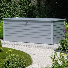 Our Biohort LeisureTime 180 Silver Storage Box made from galvanised steel is ideal for storing away furniture cushions or even kid's toys in your garden. Patio Storage, Lid Storage, Storage Boxes, Storage Ideas, Metal Sheds For Sale, Aspen House, Garden Buildings, Metal Box, Deck Design