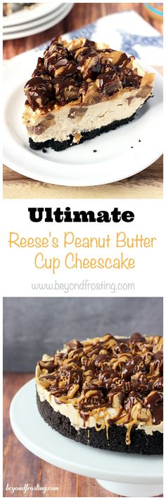 This easy no-bake Reese's Peanut Butter Cup Cheesecake is the ultimate mouthwatering treat! Loaded with Reese's Peanut Butter Cups and an Oreo cookie crust