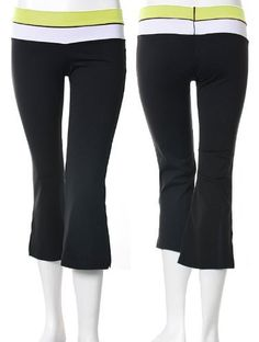 """KOS*USA Contrast Waist Bootleg Crop Pant Blk/Mint - Small by KOS USA. $25.00. Size small fits waist size 24-26"""", hips 33-35"""" and inseam 31 1/2"""".  Returns accepted within 10 days, must be new with tags no washings.  Exchange if size is available or full credit.  Buyer to pay return shipping."""