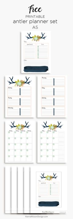 Free Printable Floral Antler Planner Inserts in A5 and Personal Size - day on one page, week on two pages, month on two pages.  {newsletter subscription required}