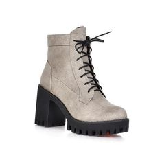WeiPoot Women's Solid Round Closed Toe Blend Materials PU Low-Top Boots -- Visit the image link more details.
