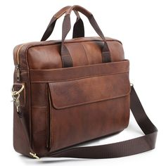 Leather Briefcases for Men Business Laptop Bag 9036