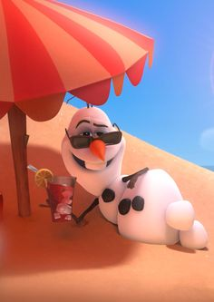 """A drink in my hand, my snow up against the burning sand, probably getting gorgeously tan in summerr.""   Can we just talk about how cute it is that the drink in Olaf's hand has ice that's shaped just like him."